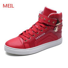MEIL Men High Top Fashion Hip-hop Dance Shoes men Trainers PU leather Outdoor sneakers zapatos hombre Flats casual shoes men цена 2017