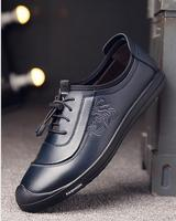 2019 Casual Shoes Men Fashion Handmade Vintage Shoes Luxury Brown Brand Male Shoes Genuine Leather Men's Leisure Shoes