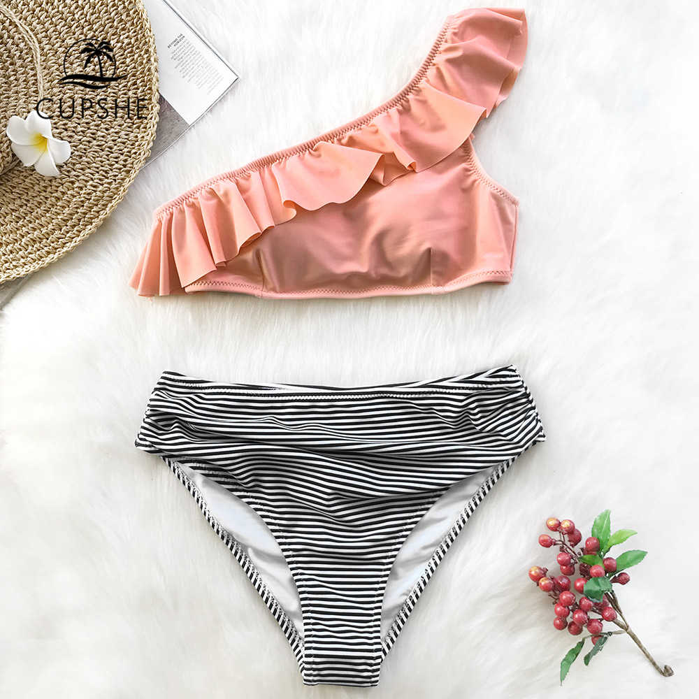 c1193091c9 CUPSHE Pink One shoulder Ruffle Falbala Bikini Set Women Striped Sexy Two  Piece Swimwear 2019 Beach