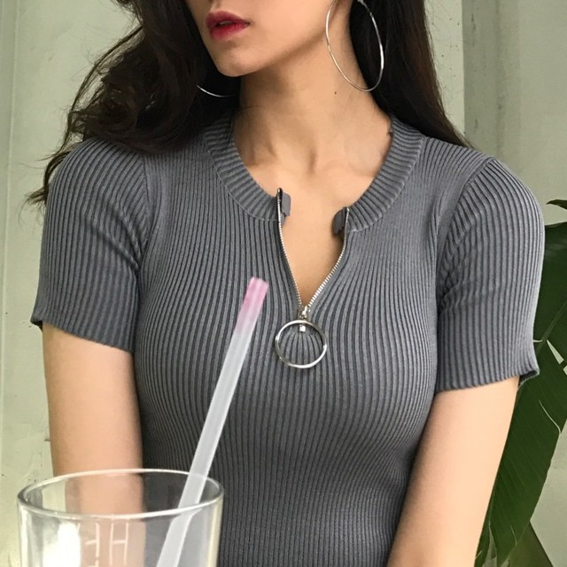 64285e5cd5e7 metal ring zip up knitted t shirt women tops short sleeve slim fitness tee  shirt femme chemisier camiseta feminina camisa mujer