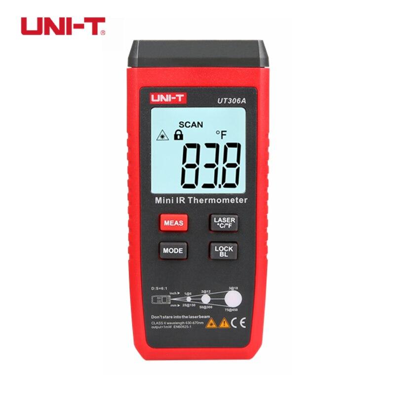 UNI-T UT306A LCD Mini Termometro A Infrarossi-35 ~ 300C-31 ~ 572F Laser Rosso Misuratore di Temperatura C/F Pirometro