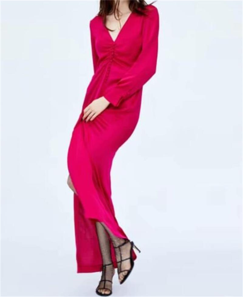 Women Fashion Pink Chest Fold Long dress Spring Long sleeve Sexy V neck Split Maxi Club dresses Female Party vestidos#N634-in Dresses from Women's Clothing on AliExpress - 11.11_Double 11_Singles' Day 1