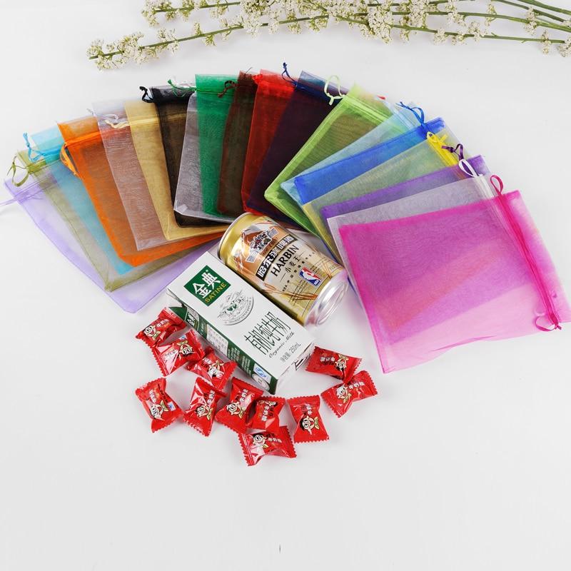 Large Organza Bags 20x30cm 50pcs Drawstring Gift Bags For Slipper Packaging Can Custom Logo