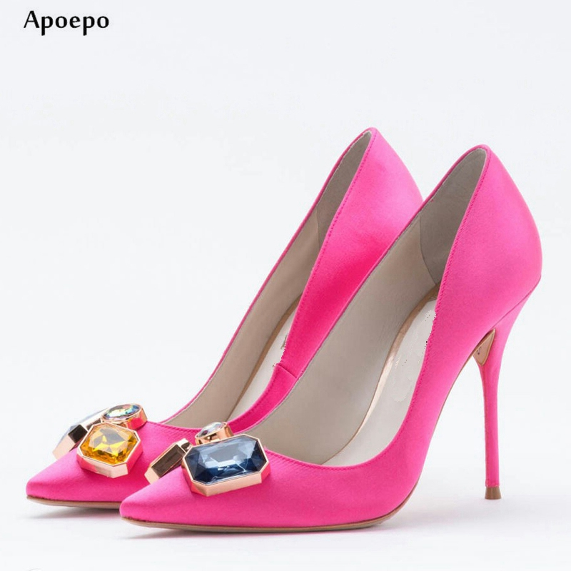 New 2018 Newest Rose Pink Silk High Heel Shoes Pointed Toe Crystal Embellished Stiletto Heels Woman Slip on Dress Heels