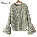 Coreano moda flare manga outono camisola 2016 venda quente mulheres sólidos finos suéteres e pulôveres de tricô vestuário feminino jumper