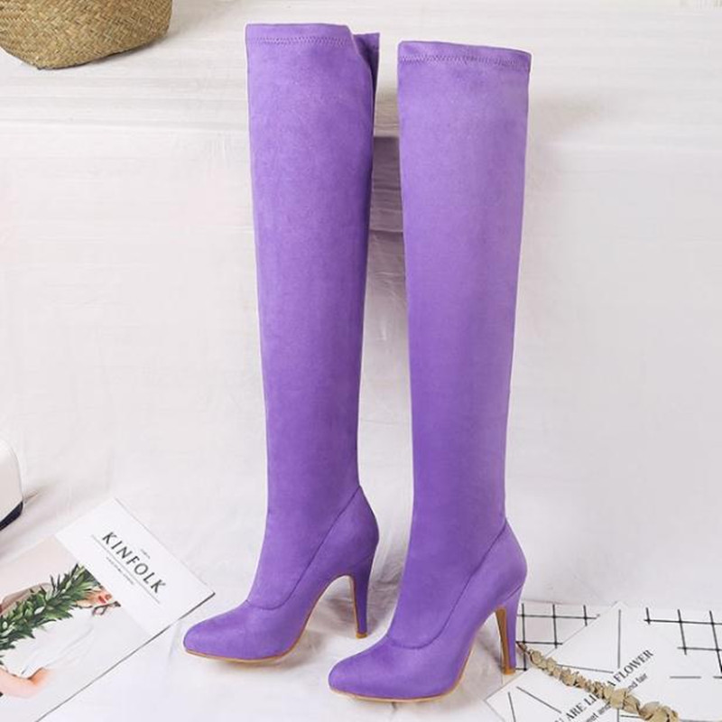 Fashion sexy high-heeled elastic Candy colors large size womens boots pointed head Thin heels Women Shoe Over the knee boots