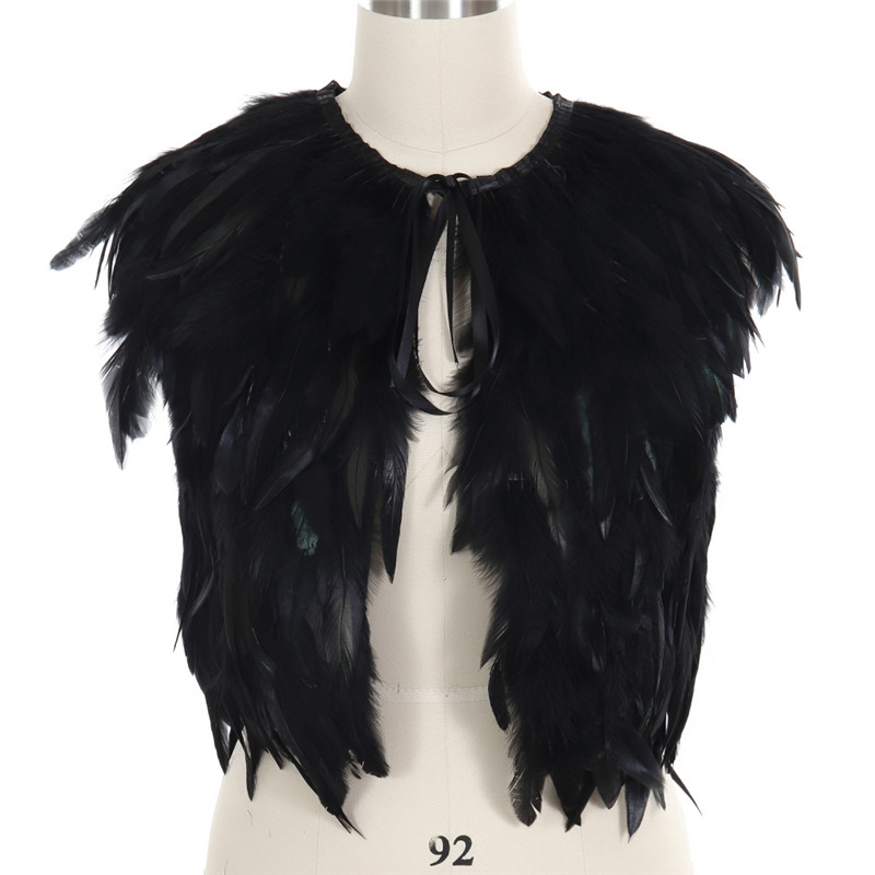 Feather Vest Cape Crop Top Cage Bra Women Costume Black Dance Rave Festival Goth Burning Man