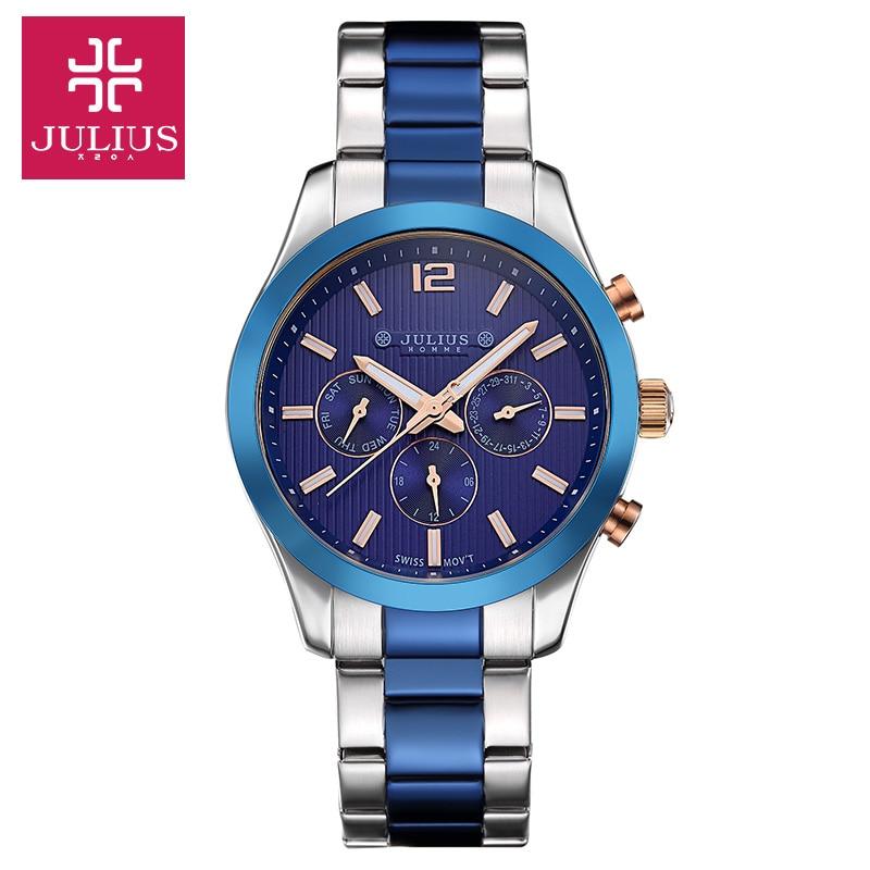 Julius Man Wrist Watch Quartz Hours Swis Mov Business Dress Bracelet Leather Function Boy Birthday Christmas