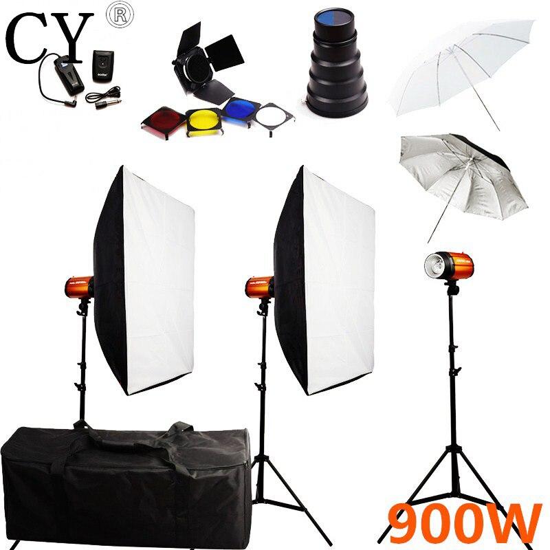 900w Photography Lightbox Flash Lighting Kits Storbe Flash Softbox Stand Set Photo Studio Accessories Godox Smart 300SDI