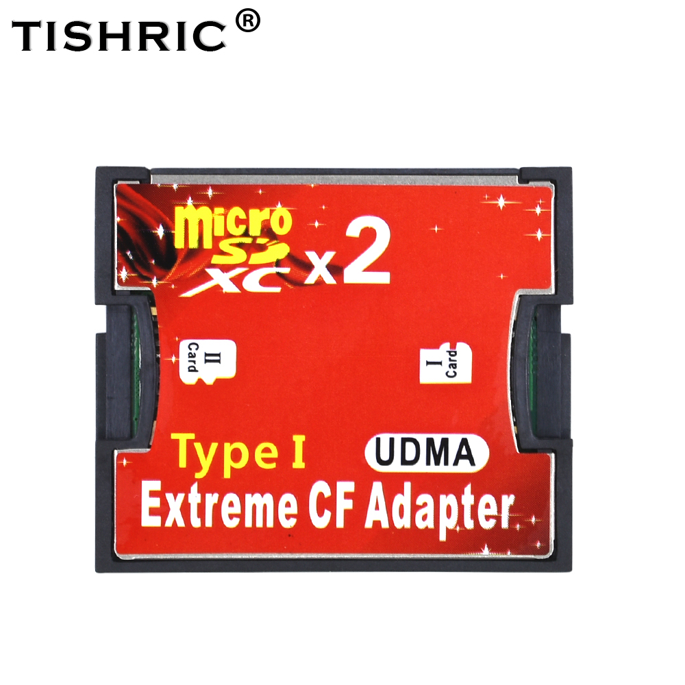 TISHRIC 2018 Two Ports Micro SD TF To CF Adapter Adaptor For MicroSD HC To Compact Flash Type I Memory Card Reader Converter