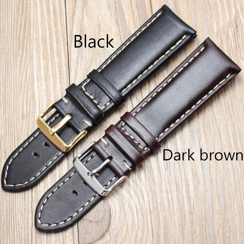 Handmade Genuine Leather Watchbands 18 19 20 21 22 24mm Black Dark Brown VINTAGE Wrist Watch Band Strap Belt Steel Pin Buckle