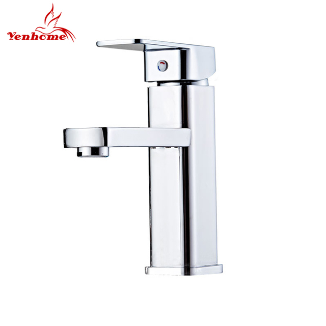 Yenhome Basin Faucet Solid Brass Bathroom Faucet Mixer Tap Single Handle  Hot And Cold Water Washbasin