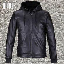 Черные Куртки из натуральной кожи, мужские пальто из тяжелой овчины, мотоциклетная куртка с капюшоном veste cuir homme, 2 накладных кармана LT559