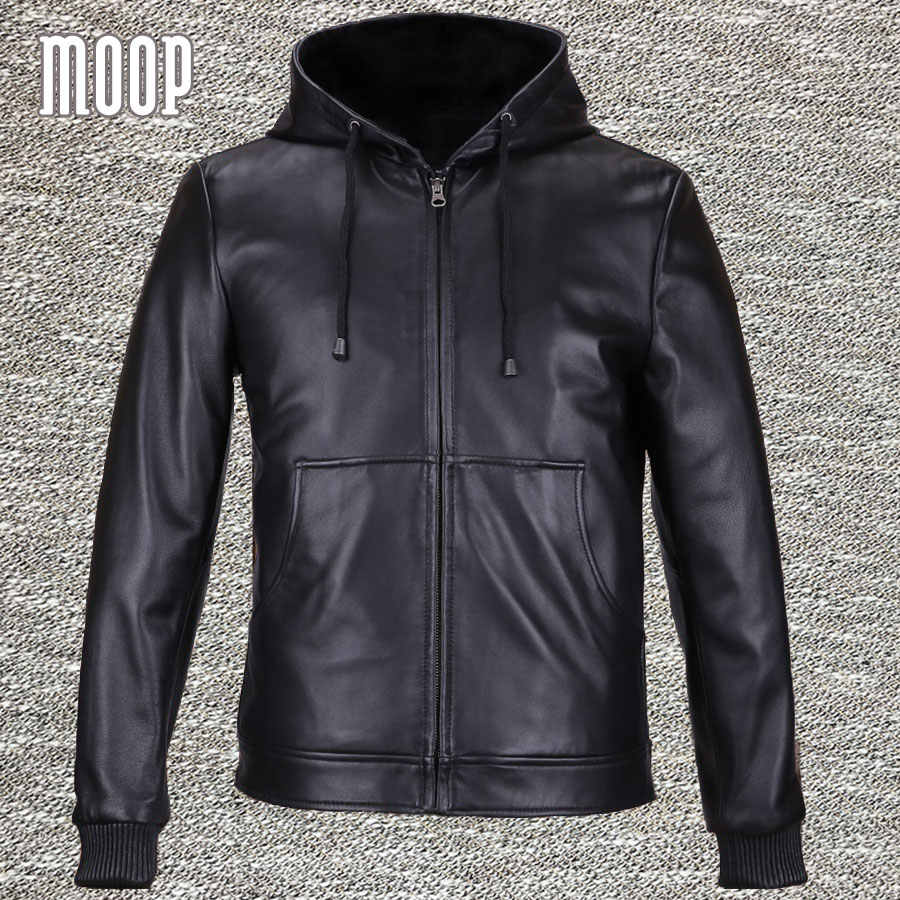 Black genuine leather jackets coats men heavyweight lambskin hooded motorcycle jacket veste cuir homme 2 patch pockets LT559