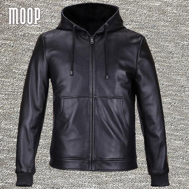 Black genuine leather jackets coats men heavyweight lambskin hooded motorcycle jacket veste cuir homme 2 patch pockets LT559