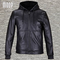 Jaquetas e casacos homens 100% da pele de carneiro preto de couro genuíno com capuz revestimento do revestimento da motocicleta veste cuir homme 2 bolsos LT559