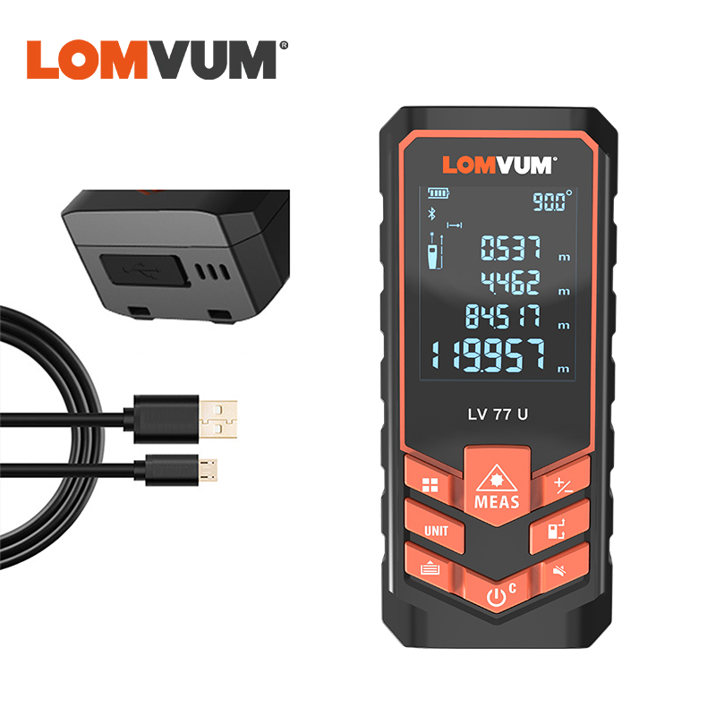 LOMVUM USB Charging 77U Handhold Trena Laser Range Finder Digital Laser Distance Meter Electrical Tape Measuring Tools 40M-120M