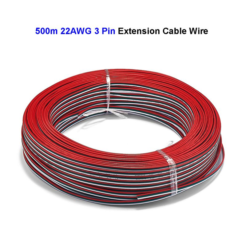 3 Pin Extension Cable 500m 22AWG SM JST Connector Electrical Wires For WS2811 WS2812B LED Rigid