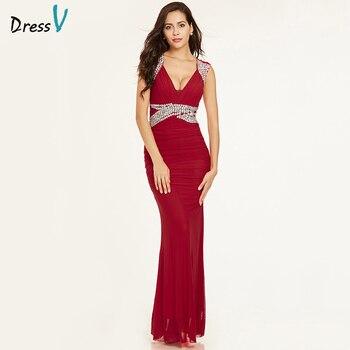 77c6d8e0bd94c Dressv kırmızı uzun gece elbisesi ucuz v boyun kolsuz kılıf fermuar up  düğün parti resmi elbise sütun abiye