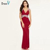 Dressv red langes abendkleid günstige v-ausschnitt sleeveless mantel reißverschluss bis hochzeit formales kleid spalte abendkleider