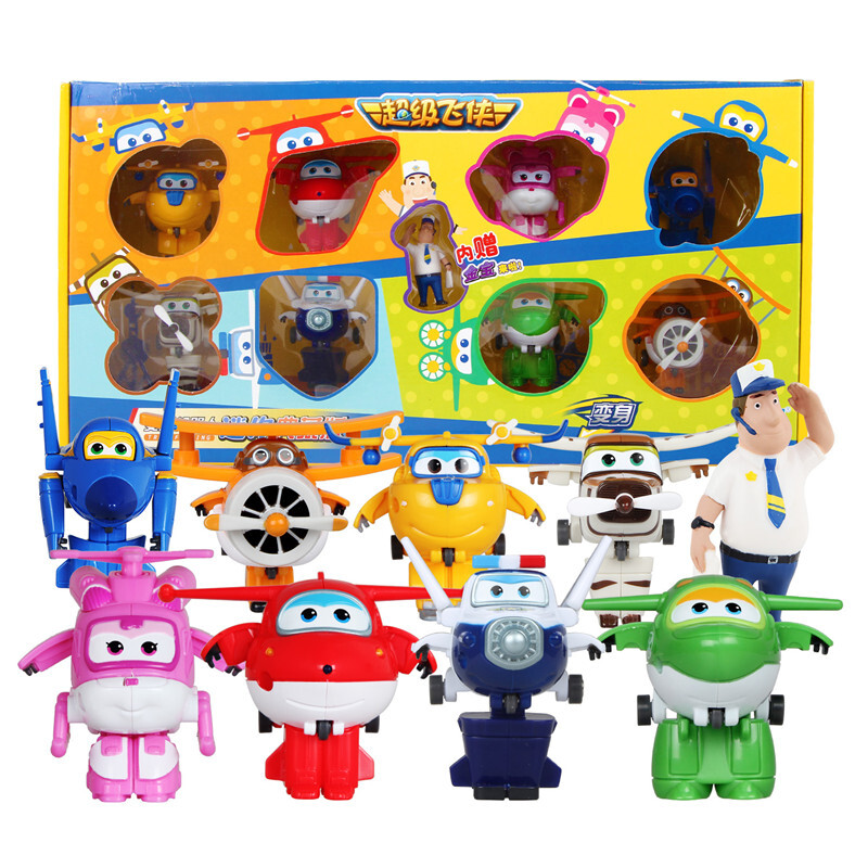 8pcs/set Original Box Mini Super Wings Deformation Airplane Robot Toy Action Figures Super Wing Transformation Toys Gifts