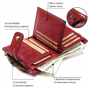 Image 4 - KAVIS Dark Red Genuine Leather Women Wallet Female Coin Purse Small Walet Portomonee Lady PORTFOLIO Zipper for Girls Vallet Mini