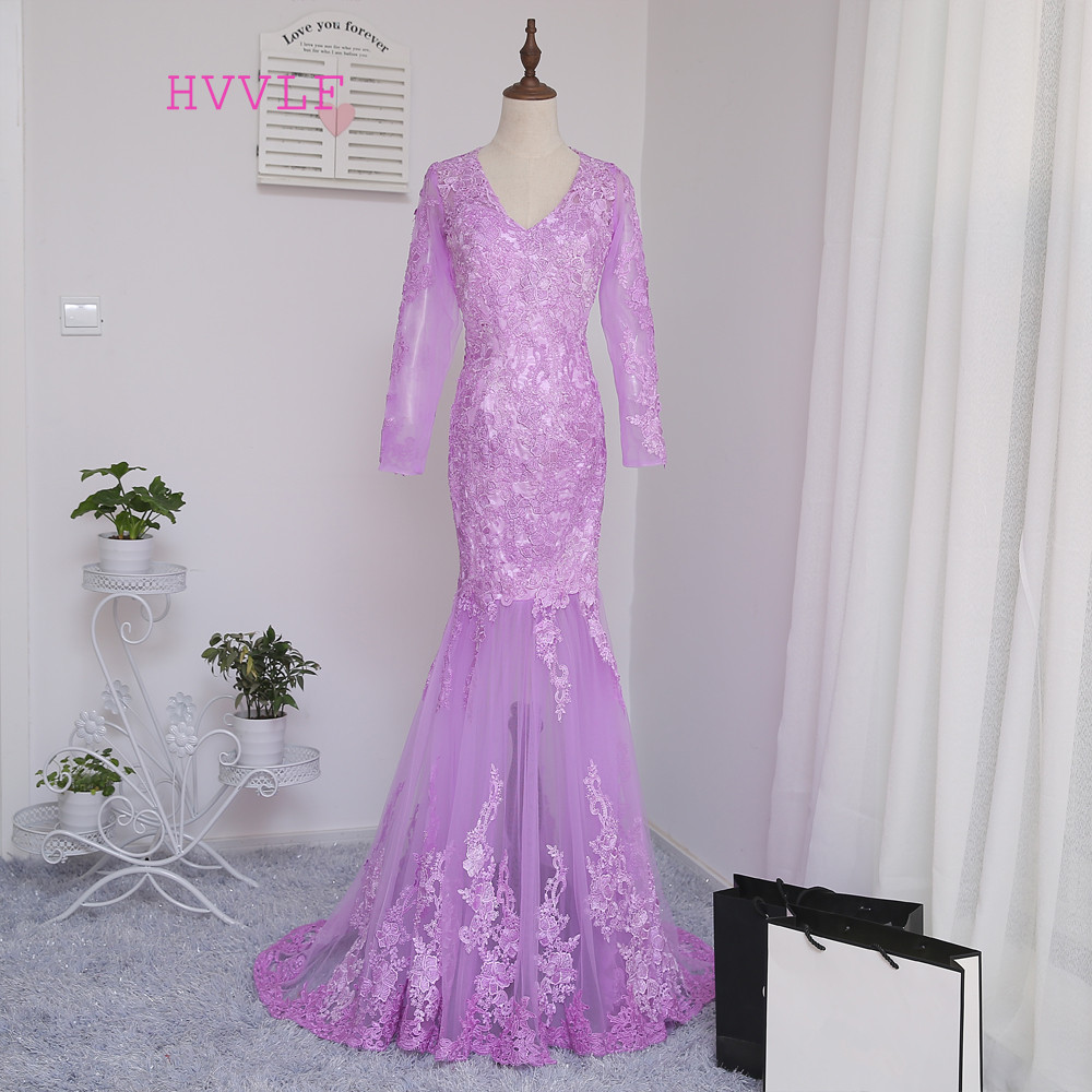 2019 Muslim   Evening     Dresses   Mermaid Long Sleeves Pink Appliques Lace Islamic Dubai Abaya Kaftan Long   Evening   Gown Prom   Dress