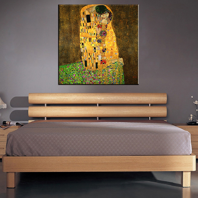 Oil Based Wall Paint Part - 49: Original Famous Paint The Kiss By Gustav Klimt Wall Painting For Home Decor Oil  Painting Art