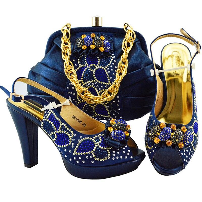 jaune vin Nouvelle De Assorties Talons Arrivée Marine Ventes En orange Et Ensemble Sac Rouge pourpre bleu Pu Chaussures Mariage Ciel Mis Élégantes Nigérians Femmes wwHqxPR