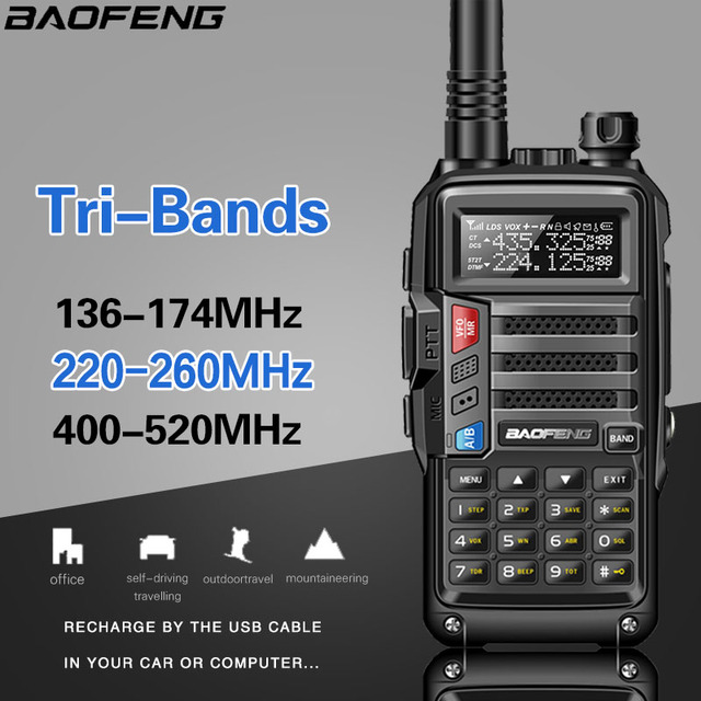 BaoFeng UV S9 8 Watt Potente Tri Band 136 174/220 260/400 520Mhz 2xAntenna Amateur Handheld ham Two Way Radio Walkie Talkie