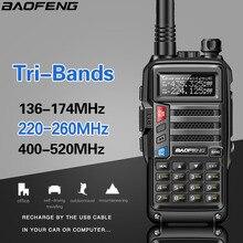 BaoFeng Walkie Talkie potente de 8 vatios, 3 bandas, 136 174/220 260/400 520Mhz, 2 antenas, jamonero de mano para aficionado, Radio bidireccional