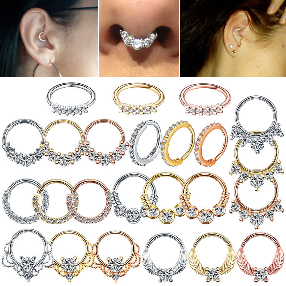 1PC Real Pierced Septo Nose Rings Daith Gem Cartilage Tragus Piercing Ear Septum Helix Clicker Rings Conch Rook Piercing Jewelry
