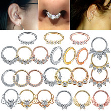 1PC Real Pierced Septo Nose Rings Daith Gem Cartilage Tragus Piercing Ear Septum Helix Clicker Rings Conch Rook Piercing Jewelry(China)