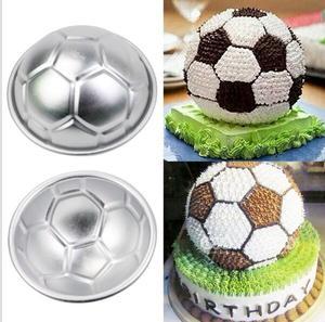 Image 4 - 2 teile/satz 3D Fußball Form Kuchen Form AluminumBall Kugel ungiftig Kuchen Form Schokolade Pan Mold Küche Backen Werkzeuge