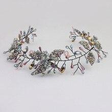 Cross - border hot seller small leaf bride hair band jelly color crystal headband European and American headwear acce