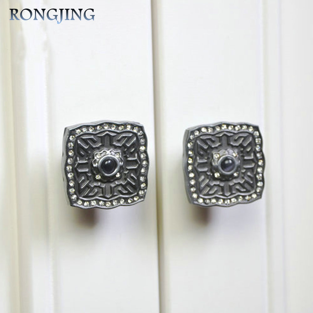 96mm/128mm Antique Palace Cabinet Drawer Handles With Crystal Kitchen Cabinet Handle Knobs Vintage Cupboard Closet Pulls Bars css clear crystal glass cabinet drawer door knobs handles 30mm