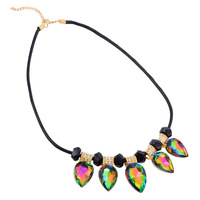 Collare Genuine Leather Necklace Women Maxi Necklace Boho Summer Jewelry Big Colorful Crystal Charm Pendant Necklace N187