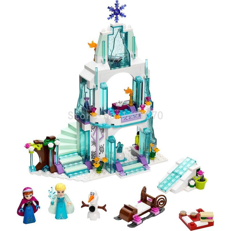 Dream Princess Elsa Ice Castle Princess Anna Friends Model Building Block Set Toys for Girl Gift Compatible  Legoedly 41062 new 37008 561pcs girl friends princess anna and the princess castle building kit blocks bricks toys for children gift brinquedos
