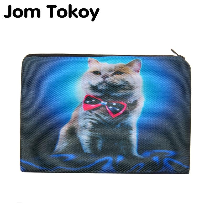 Blue Bow Cat Portable Type Make Up Bags Cosmetic Case Maleta De Maquiagem Bags Storage Travel Makeup Bag Brand Pencil Case