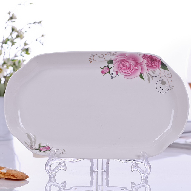 Chinese Style Creative Rectangle Ceramic Plate with Flower Print Fish Dish Plate Microwave Safe \u0026 Freezer  sc 1 st  AliExpress.com & Chinese Style Creative Rectangle Ceramic Plate with Flower Print ...