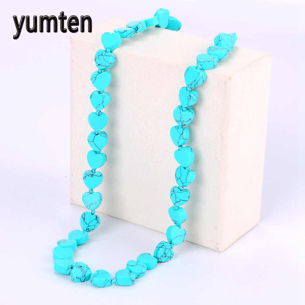 Yumten Turquoise Necklace Power Natural Stone Crystal Women Jewelry Men Jade Teen Wolf Soy Luna Shadowhunters Prata Tree Of Life