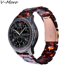 V-MORO 22mm Fashion Resin Bracelet Strap with Metal Stainless Steel Rose Gold Buckle for Samsung Gear S3 Frontier / Classic