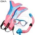 OXA Crianças Snorkel Óculos de Natação Óculos de Proteção & Máscara De Mergulho Com Snorkel & Flippers Set Silicone Equipamento de Mergulho Profissional