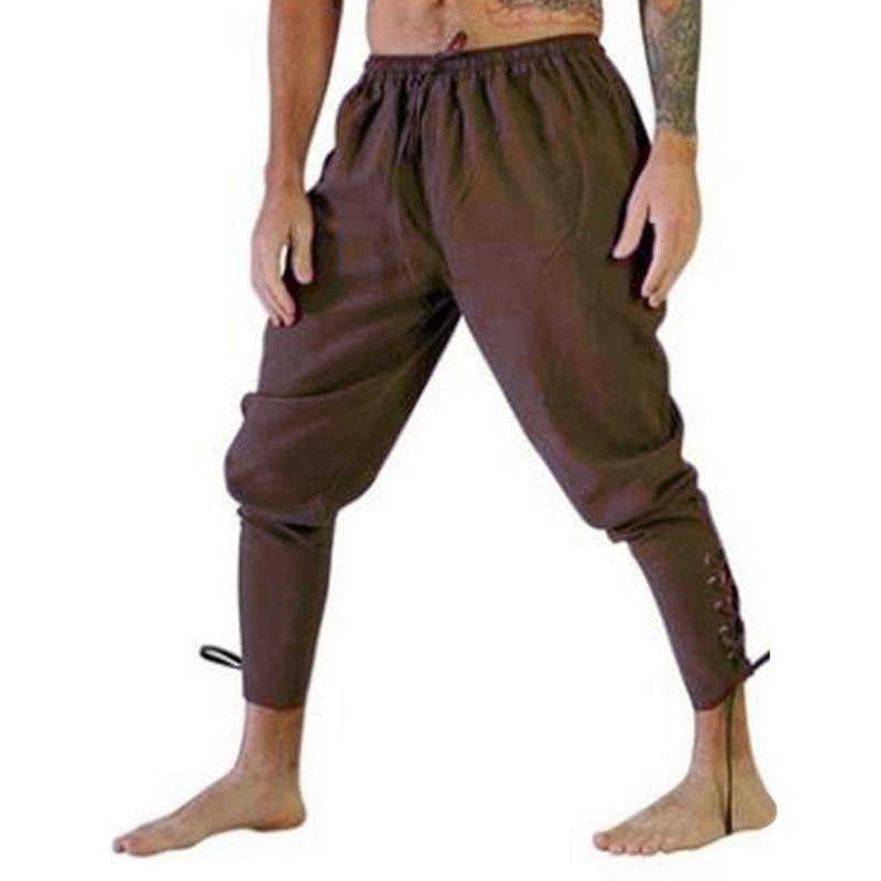 Litthing Men Retro Medieval Costume Lace-Up Bandage Pants Larp Capris Trousers Vintage Cotton Joggers For Men Quick Dry Casual