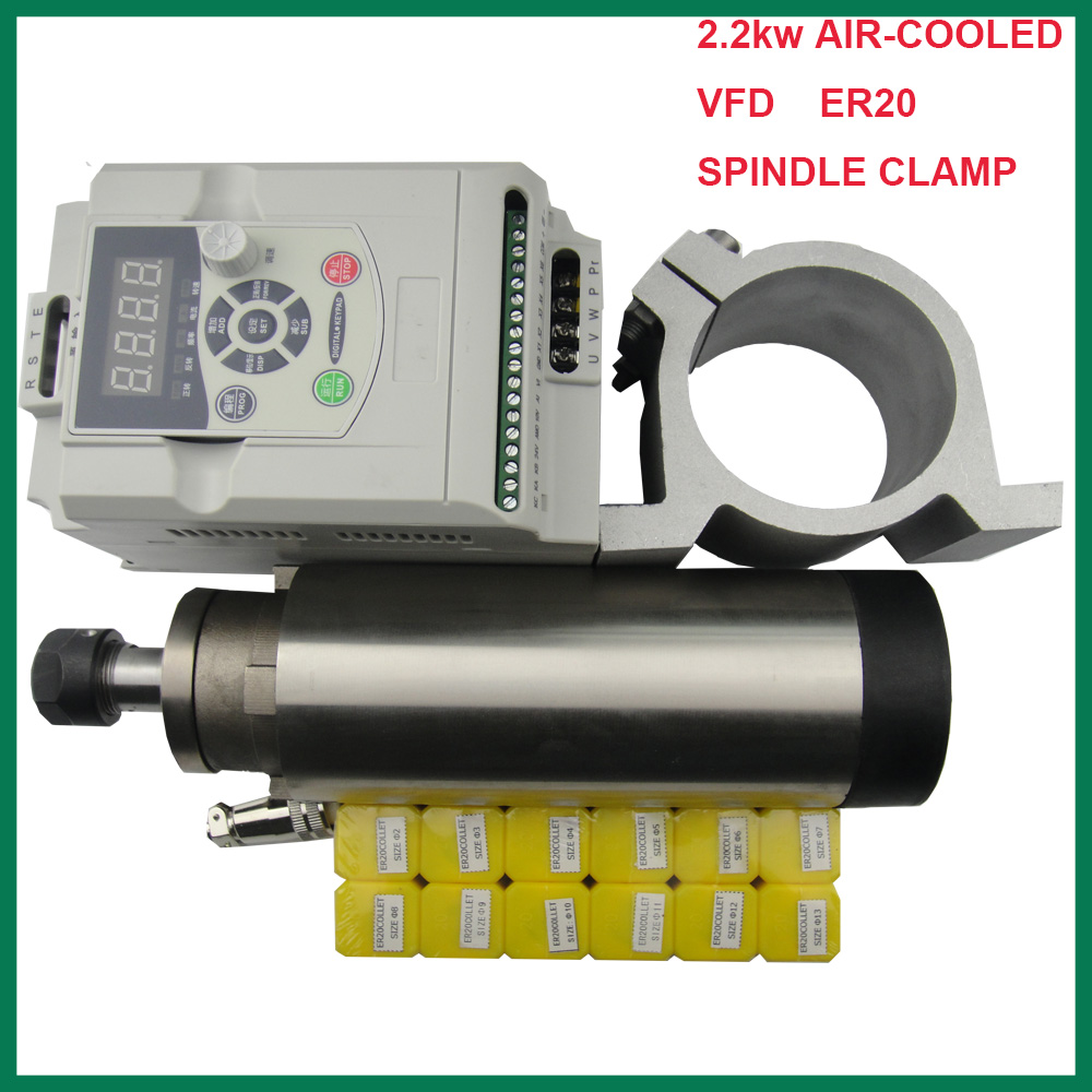 CNC spindle kit ER 20  2.2KW air cooling spindle motor 4 bearing+2.2KW VFD inverter+spindle clamp 80mm+12 pieces ER20 collets new product 220v 2 2kw cnc air cooled spindle motor er16 air cooling 4 bearing