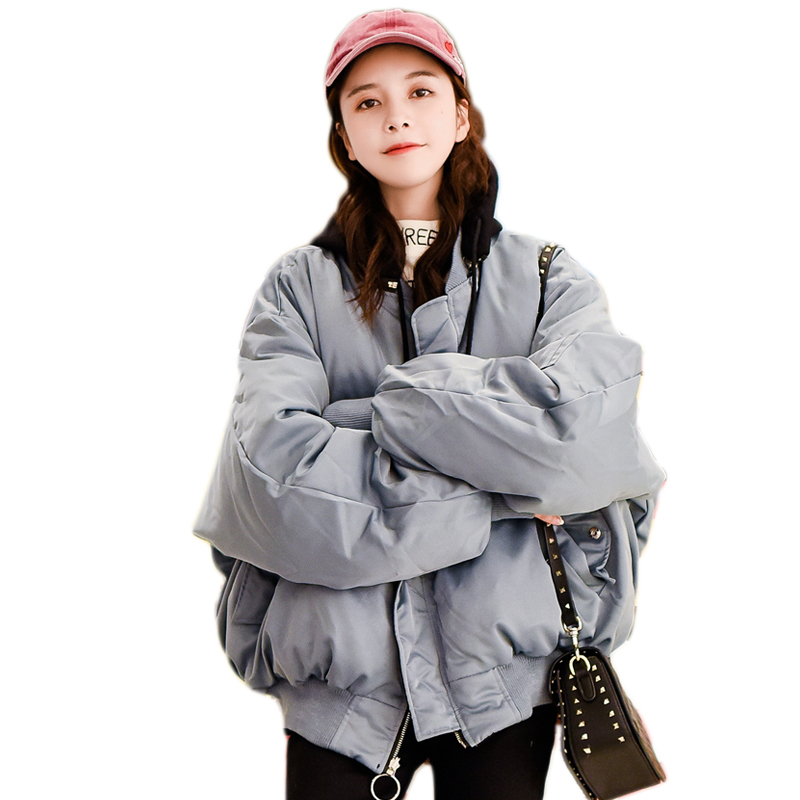 Hooded Women's Winter   Parkas   Double Sided Wear Women's cotton coat Oversized women Bomber Jacket Basic Coat Loosen Outerwear