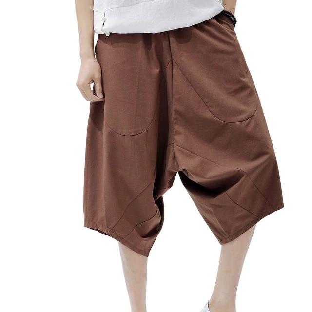 107e903e86f Harem Pants Men Linen Big Pocket Trouser Flax Mens Pants Linen Cotton Wide  Leg Loose Linen