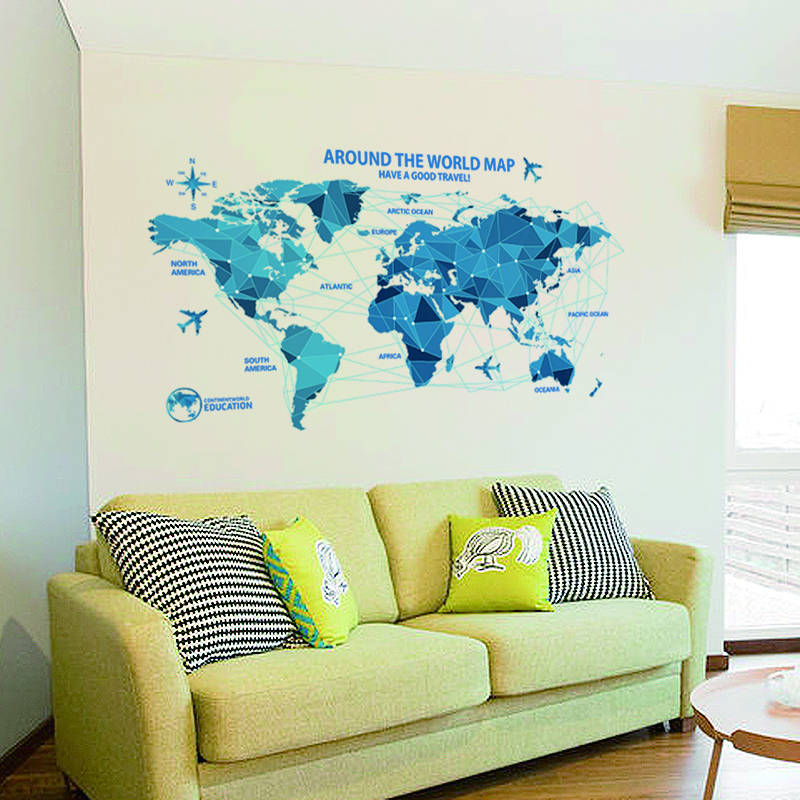 waterproof 3d world map wall stickers science rooms decals home decor creative wall art bedroom home decorations wall decalsin wall stickers from home
