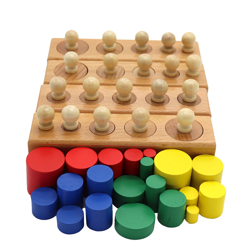 Juguetes Educativos de madera Montessori para bebés juego de bloques de cilindros coloridos para niños juguete educativo preescolar de Aprendizaje Temprano