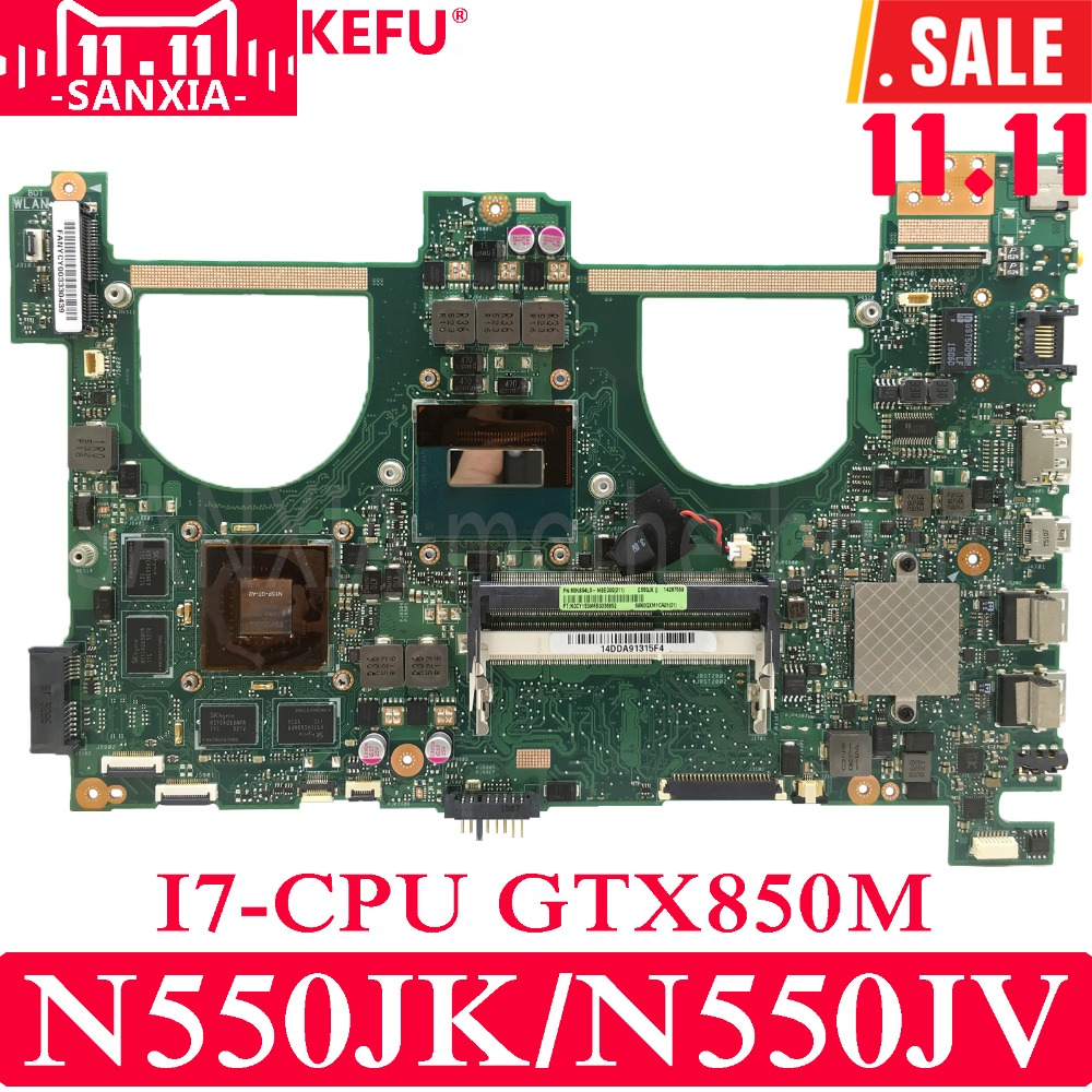 KEFU N550JK mère D'ordinateur Portable pour ASUS N550JK N550JV Q550JV Q550J G550JK N550J Test carte mère d'origine I7 CPU GTX850M